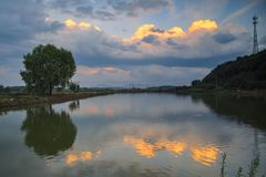 Summer sunset glow in countryside of China royalty free stock photo