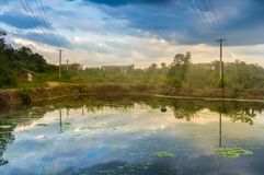 Summer sunset glow in countryside of China royalty free stock photos