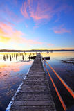 Summer sunset jetty and pool Yattalunga Australia Royalty Free Stock Image