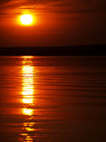Summer sunset on lake. Closeup royalty free stock photography