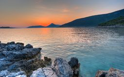 Summer sunset landscape beach in Montenegro Royalty Free Stock Image