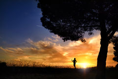 Summer sunset. Man in the sun. Summer sunset. Girl in the sun. Blue sky, backlight Stock Image