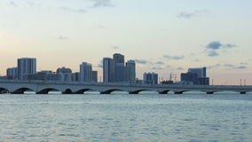 Summer sunset miami downtown bridge water panorama 4k usa. Usa summer sunset miami downtown bridge water panorama 4k stock video