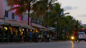 Summer sunset miami south beach ocean drive traffic street 4k florida usa stock footage