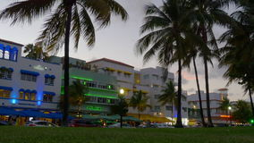 Summer sunset miami south beach park view on ocean drive 4k florida usa stock video footage