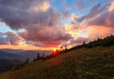 Summer sunset mountain view Carpathian, Ukraine. Royalty Free Stock Image