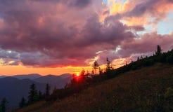 Summer sunset mountain view Carpathian, Ukraine. Stock Photo