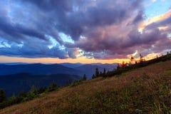 Summer sunset mountain view Carpathian, Ukraine. Stock Photography