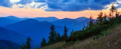 Summer sunset mountain view Carpathian, Ukraine. Royalty Free Stock Images