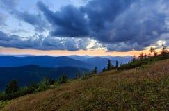 Summer sunset mountain view Carpathian, Ukraine. Stock Image