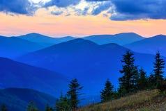 Summer sunset mountain view Carpathian, Ukraine. Stock Photos