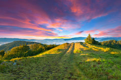 Summer sunset in the mountains. Stock Photography