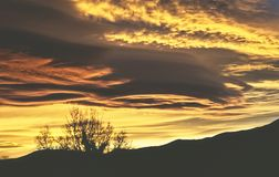 Summer sunset in the mountains of huesca spain Royalty Free Stock Image