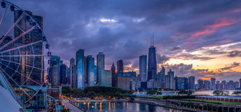 Summer sunset at Navy Pier Stock Images
