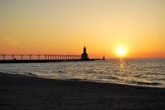 Summer sunset near lighthouse royalty free stock photos