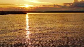Summer sunset on nothern lake stock video footage