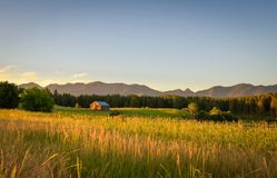 Summer sunset with an old barn in rural Montana Royalty Free Stock Photography