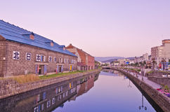 Summer Sunset, Otaru Canal, Hokkaido, Japan Stock Image