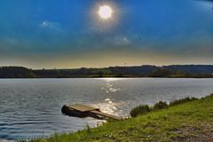 Summer sunset over Big Vrestov pond royalty free stock photos