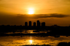 Summer Sunset Over Bucharest City Skyline. In Romania Stock Image
