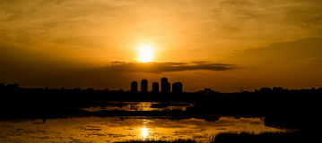 Summer Sunset Over Bucharest City Skyline. In Romania Royalty Free Stock Images