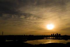Summer Sunset Over Bucharest City Skyline. In Romania Royalty Free Stock Photo