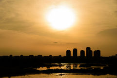 Summer Sunset Over Bucharest City Skyline. In Romania Royalty Free Stock Image