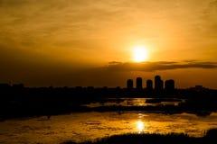 Summer Sunset Over Bucharest City Skyline. In Romania Stock Photos