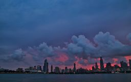 Summer sunset over Chicago`s skyline and museum campus stock photos