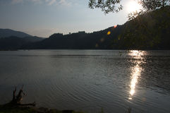 Summer sunset over the Drina River, Serbia Royalty Free Stock Photography
