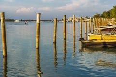 Summer twilight over the lagoon shoreline in Bibiobe, venice. Summer sunset over the lagoon water and shoreline inside Bibione, Venice royalty free stock photos