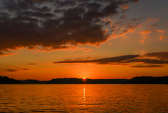 Summer Sunset over Lake. Golden Summer Sunset over Lake in Minnesota Stock Photography