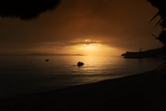 Summer sunset over the Mediterranean Sea Royalty Free Stock Photography