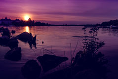 Summer Sunset over Muskoka Bay - Horizontal Royalty Free Stock Photos
