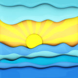 Summer sunset over sea, abstract 3d. Summer sunset over sea waves, abstract 3d illustration royalty free illustration