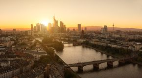 Summer Sunset panorama of the financial district in Frankfurt, G. View of the Frankfurt at the main during sunset. ideal for websites and magazines layouts Royalty Free Stock Images