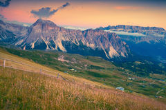 Summer sunset on the Pizes de Cir ridge. National Park valley Royalty Free Stock Image
