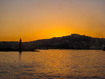 Summer sunset on the port of Naples, Italy Stock Photography
