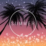Summer sunset poster and abstract background. vector illustration. EPS 10.  Royalty Free Stock Photos