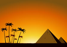 Summer sunset with pyramids Stock Photo