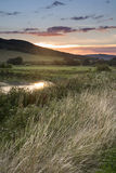 Summer sunset reflected in river in countryside landscape during Stock Photos