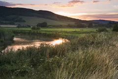Summer sunset reflected in river in countryside landscape during Stock Images