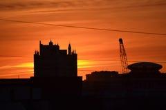 Summer sunset of St. Petersburg stock photos