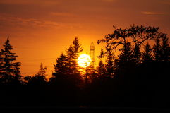 Summer sunset. This summer sunset is unusually red do to a near by forest fire Royalty Free Stock Image