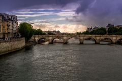 Summer Sunset view over Seine Stock Photography
