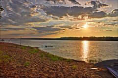 Summer sunset. On the Volga River royalty free stock photos