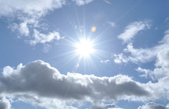 Summer sunshine and clouds in the skies of Britain. A sunny day with some cumulus clouds and summer sunshine in Britain stock image