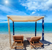 Summer sunshiny Albanian riviera beach. Royalty Free Stock Images