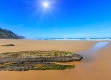 Summer sunshiny beach Portugal. Sunshiny summer sandy beach Algarve, Costa Vicentina, Portugal Stock Photography