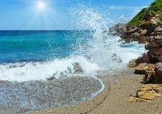 Summer sunshiny beach view Greece, Lefkada. Sunshiny summer view from beach Greece, Lefkada, Ionian Stock Image